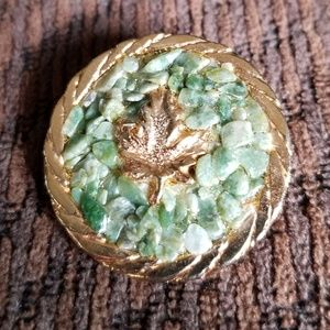 Unusual Vintage Pin With Leaf Center